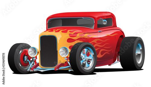 Fotografía Classic Red Custom Street Rod Car with Hotrod Flames and Chrome Rims Isolated Ve