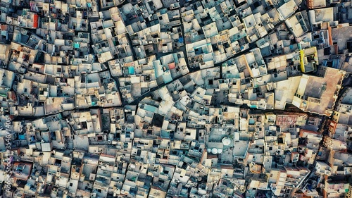 Canvas Print A shocking aerial photo of cluster housing in agra