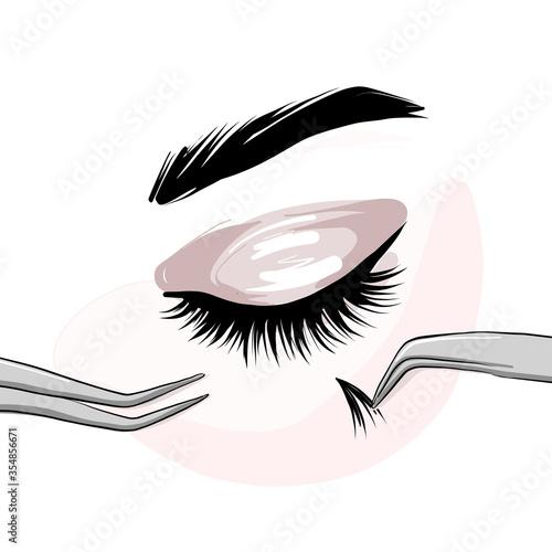 Slika na platnu Lash extension beautican procedure, lash stylist make faux eyelash extention, professional beauty service