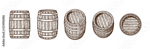 Set of old wooden barrels in different positions Fototapete