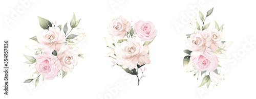 Leinwand Poster rose watercolor vector set beautiful floral bouquet
