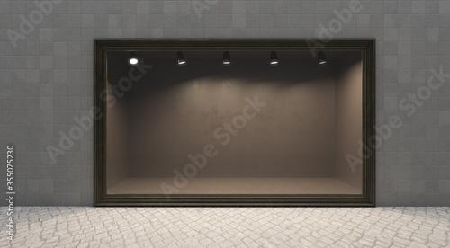 Obraz na płótnie Shop window display, Empty storefront, Showcase on the street