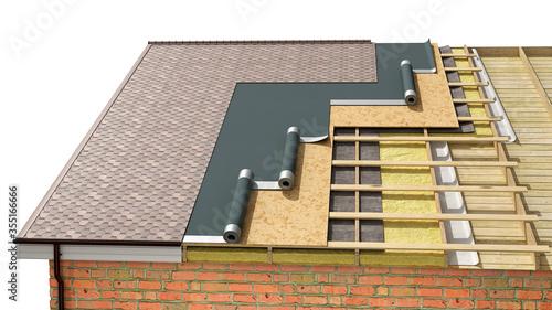 Fotografia Detailed shingle roof installing in process, 3d illustration