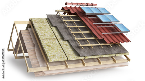 Fotografia Layered scheme of roof covering and solar batteries installing, 3d illustration