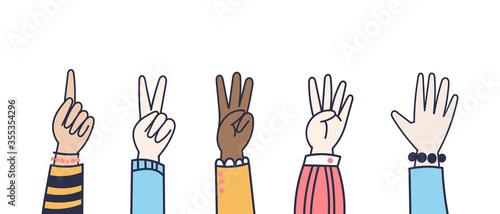 Slika na platnu Vector Hands counting show fingers