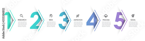 Fotografia Vector Infographic arrow design with 5 options or steps