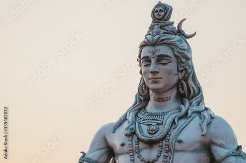 Canvas Print Close up of Shiva statue in Rishikesh, India