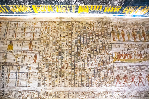 Canvas Ancient burial chambers for Pharaohs with hieroglyphics at the valley of the kings, Luxor, Egypt