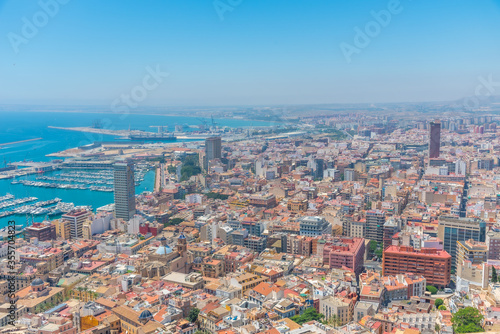 Aerial view of Spanish city and port Alicante