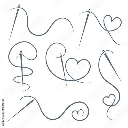 Fotografia, Obraz Heart with a needle thread icon for design on white, set of different form of hearts