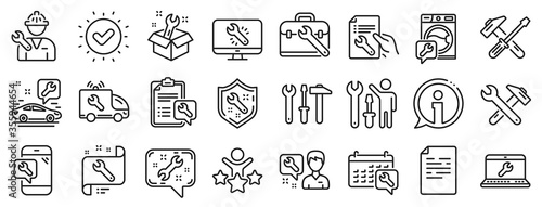 Fotografia Set of Hammer, Screwdriver and Spanner tool icons