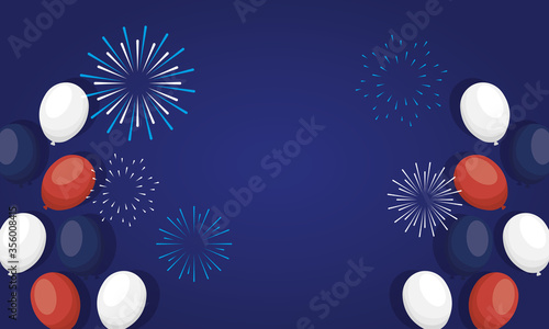Tablou Canvas france balloons with fireworks of happy bastille day vector design