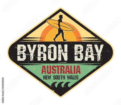 Fotografia Byron Bay, Australia - surfer sticker, stamp or sign desig