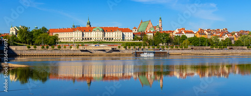 Panoramic view of Stare Miasto Old Town historic quarter with Wybrzerze Gdanskie embankment at Vistula river in Warsaw, Poland