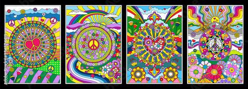 Obraz na plátně 1960s Hippie Style Background Set, Psychedelic Art, Abstract Patterns, Love and