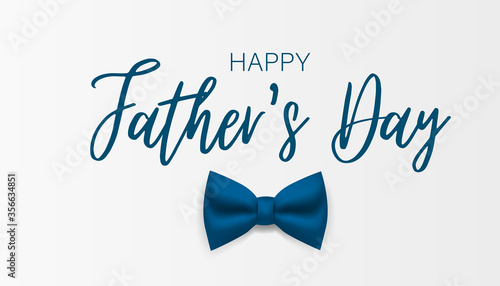 Fotografia Happy Father's day banner. Simple vector with blue bow tie.