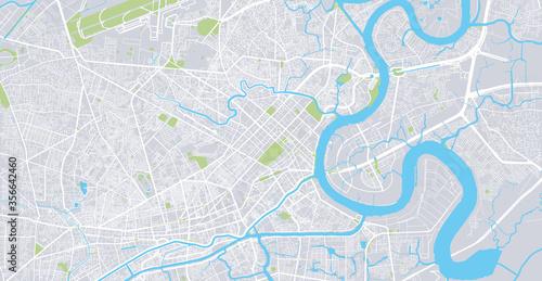 Obraz na płótnie Urban vector city map of Ho Chi Minh City, Vietnam