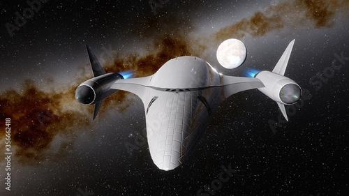 Obraz na plátně spaceship flies near exoplanet, spaceship of the future in space, ufo, spaceship