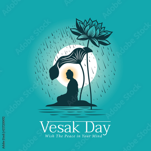 Tableau sur Toile Vesak day banner with The Lord Buddha meditated under Big lotus leaf and flower