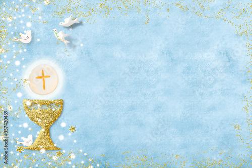 Obraz na płótnie First holy communion invitation card.