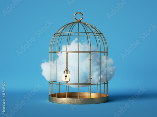 3d render, Abstract white cloud caged inside golden cage, isolated on blue background Fototapeta