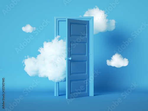 Fototapeta 3d render, white fluffy clouds going through, flying out, open door, objects isolated on blue background