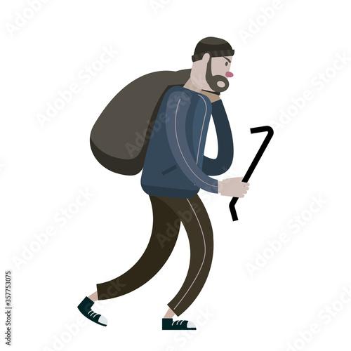 Stampa su Tela Looter with crowbar and bag. Robber, scrap, criminal character