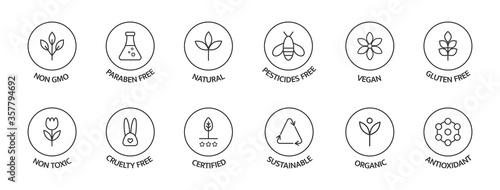 Obraz na płótnie Organic cosmetic labels set