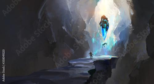 Fotografie, Obraz Strange cave, digital painting.