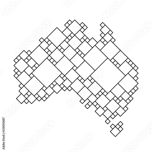 Canvas Print Australia map from black pattern from a grid of squares of different sizes