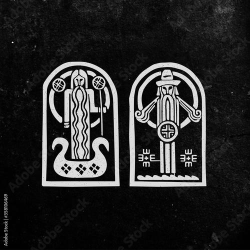 Photo Old Russian, Slavic, Nordic mythological symbols