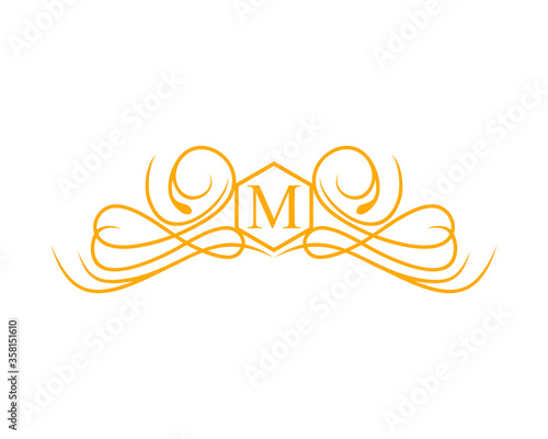 M letter initial with exclusive crest Fototapeta