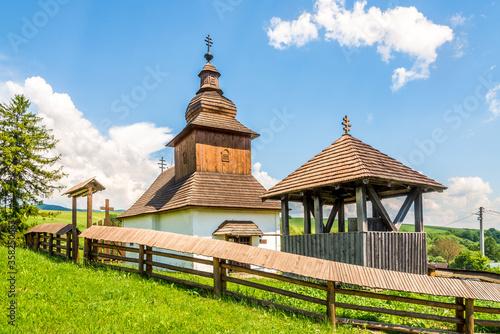 Fotografía View at the Wooden Church of Saint John the Baptist in village Kalna Roztoka, Sl