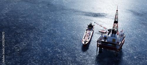 Stampa su Tela Oil platform on the ocean
