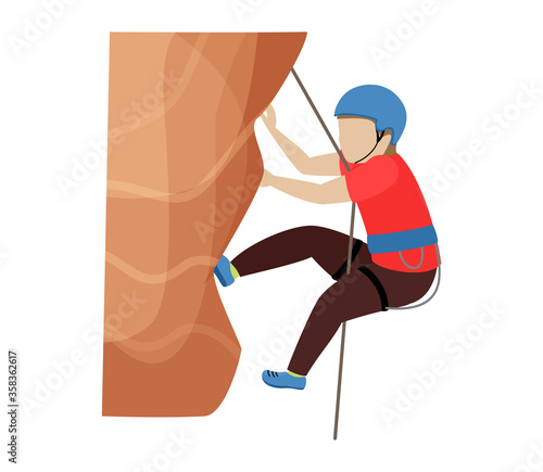 Valokuva Kids climbing vector climber children character climbs rock mountain wall or mountainous cliff illustration mountaineering set of child in extreme sport mountaineer isolated on white background