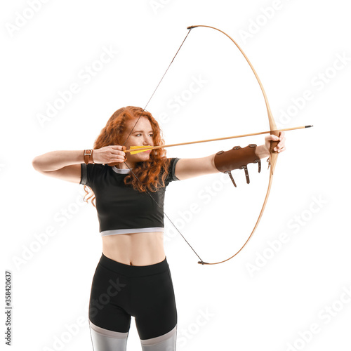 Wallpaper Mural Beautiful female archer with bow on white background