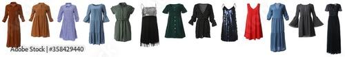 Valokuva Set of different stylish dresses on white background