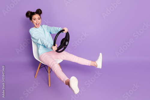 Fotografie, Tablou Portrait of her she nice attractive glad cheerful girl sitting on chair holding