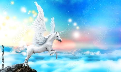 Stampa su Tela White pegasus unicorn in a cliff high above the clouds