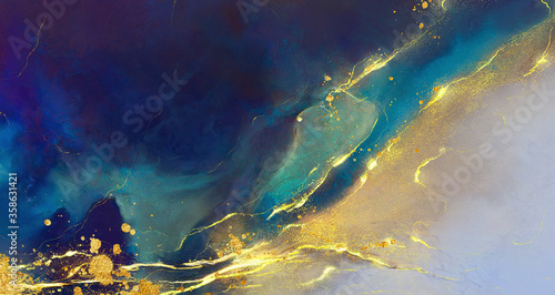 golden abstract elements on a stylish background with watercolor texture