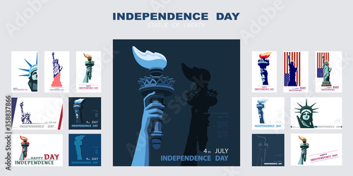 Fotografia Independence day poster, hand with torch, presentation, banner
