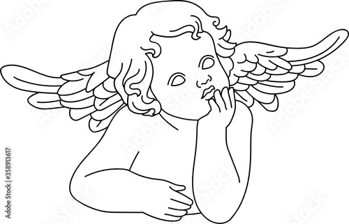 Leinwand Poster minimalist line art of a child baby cherub angel with wings