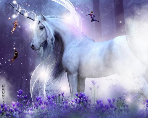 Fototapeta Biały jednorożec z fioletowym lasem i kwiatami