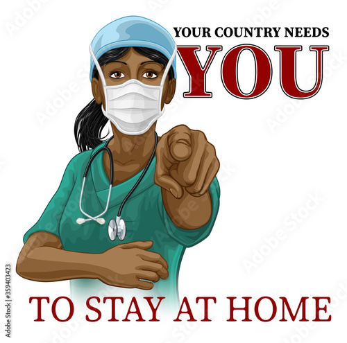 Canvas Print A woman nurse or doctor in surgical or hospital scrubs and mask pointing in a your country needs or wants you gesture