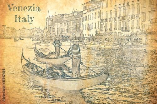 Obraz na płótnie Sketch of gondolier on the Grand Canal, Venice