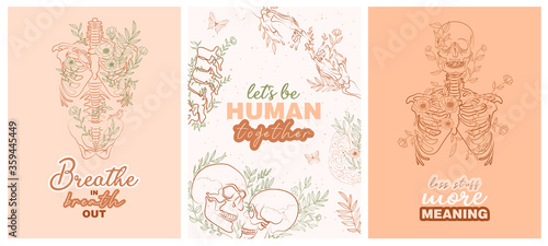 Photo Set of trendy posters with floral human anatomy skeleton and organs and typography inspiration quotes about life