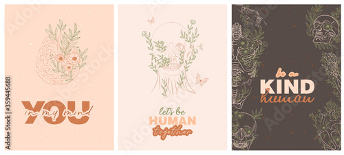 Canvas Print Set of trendy posters with floral human anatomy skeleton and organs and typography inspiration quotes about life