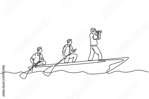 Stampa su Tela One single line drawing of young male team member take a boat heading to an island while the leader navigate them using binocular