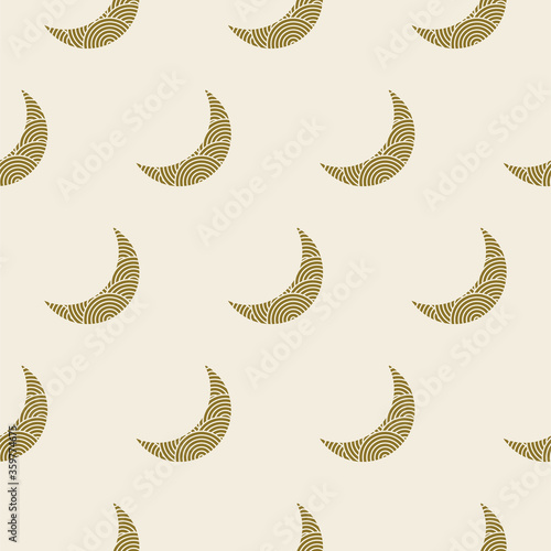 Wallpaper Mural Seamless crescent moon pattern yellow gold colors