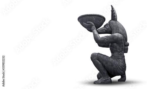 Photo stone anubis statue isolated on white background